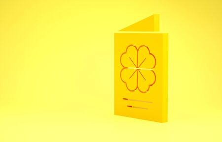 Yellow Saint Patricks Day party flyer, brochure, holiday invitation, postcard, corporate celebration icon isolated on yellow background. Minimalism concept. 3d illustration 3D render Фото со стока
