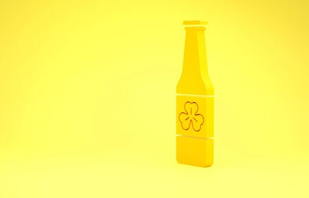 Yellow Beer bottle with four leaf clover icon isolated on yellow background. Happy Saint Patricks day. Minimalism concept. 3d illustration 3D render