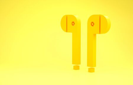 Yellow Air headphones icon icon isolated on yellow background. Holder wireless in case earphones garniture electronic gadget. Minimalism concept. 3d illustration 3D render