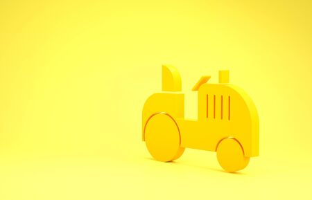 Yellow Tractor icon isolated on yellow background. Minimalism concept. 3d illustration 3D render Stok Fotoğraf