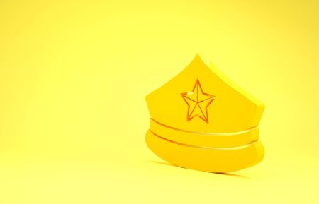 Yellow Police cap with cockade icon isolated on yellow background. Police hat sign. Minimalism concept. 3d illustration 3D render