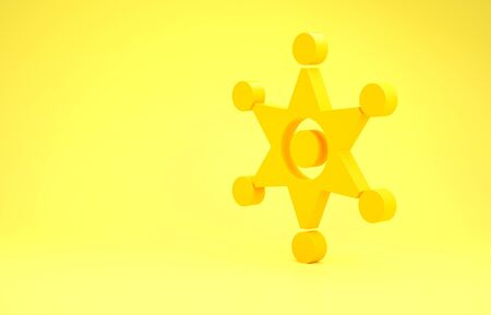 Yellow Hexagram sheriff icon isolated on yellow background. Police badge icon. Minimalism concept. 3d illustration 3D render 写真素材