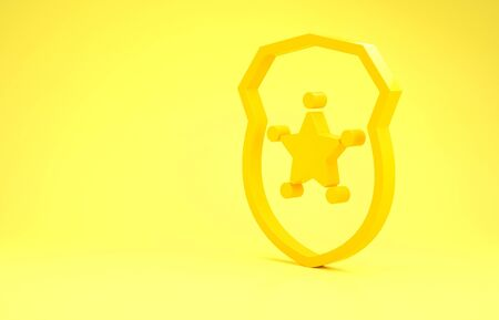 Yellow Police badge icon isolated on yellow background. Sheriff badge sign. Minimalism concept. 3d illustration 3D render