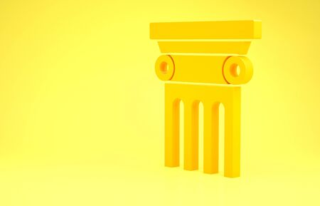Yellow Law pillar icon isolated on yellow background. Minimalism concept. 3d illustration 3D render Archivio Fotografico - 137436441
