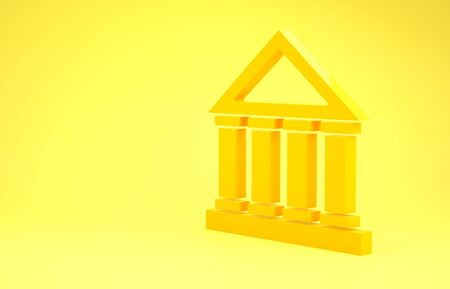 Yellow Courthouse building icon isolated on yellow background. Building bank or museum. Minimalism concept. 3d illustration 3D render Archivio Fotografico - 137436453