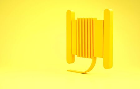 Yellow Wire electric cable on a reel or drum icon isolated on yellow background. Minimalism concept. 3d illustration 3D render Banco de Imagens