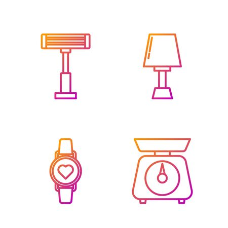 Set line Scales , Smart watch showing heart beat rate , Electric heater  and Table lamp . Gradient color icons. Vector