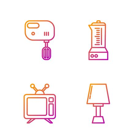 Set line Table lamp , Television, Electric mixer and Blender . Gradient color icons. Vector
