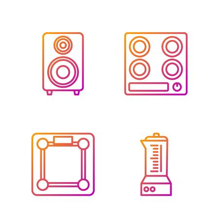 Set line Blender , Bathroom scales , Stereo speaker  and Gas stove . Gradient color icons. Vector