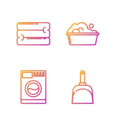 Set line Dustpan , Washer , Towel stack and Plastic basin with soap suds . Gradient color icons. Vector Vectores