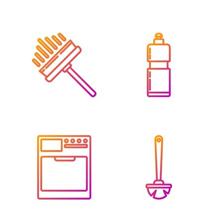 Set line Toilet brush , Washer , Squeegee, scraper, wiper and Plastic bottles for liquid dishwashing liquid. Gradient color icons. Vector