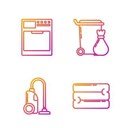 Set line Towel stack , Vacuum cleaner , Washer and Trash can . Gradient color icons. Vector