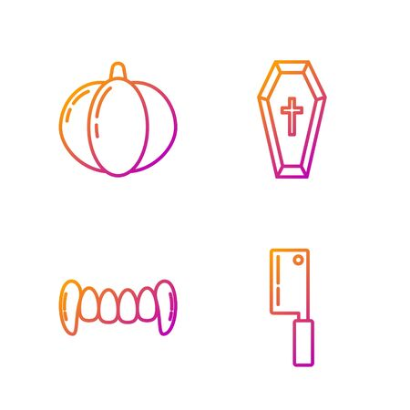 Set line Meat chopper , Vampire teeth , Pumpkin and Coffin with christian cross . Gradient color icons. Vector