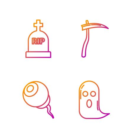 Set line Ghost , Eye , Tombstone with RIP and Scythe . Gradient color icons. Vector