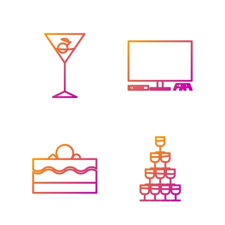 Set line Wine glasses stacked in a pyramid tower , Cake , Martini glass and Video game console . Gradient color icons. Vector
