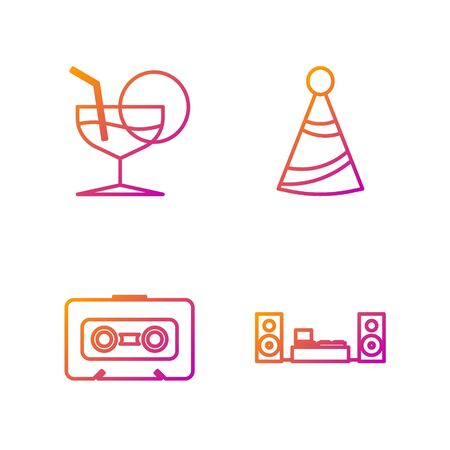 Set line Home stereo with two speakers , Retro audio cassette tape , Martini glass and Party hat . Gradient color icons. Vector