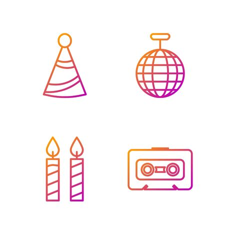 Set line Retro audio cassette tape , Birthday cake candles , Party hat and Disco ball . Gradient color icons. Vector