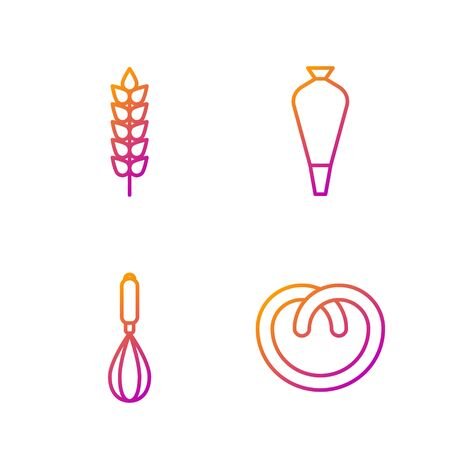 Set line Pretzel , Kitchen whisk , Cereals with rice, wheat, corn, oats, rye and Pastry bag for decorate cakes. Gradient color icons. Vector Vettoriali