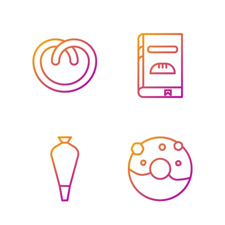 Set line Donut with sweet glaze , Pastry bag for decorate cakes, Pretzel and Cookbook . Gradient color icons. Vector
