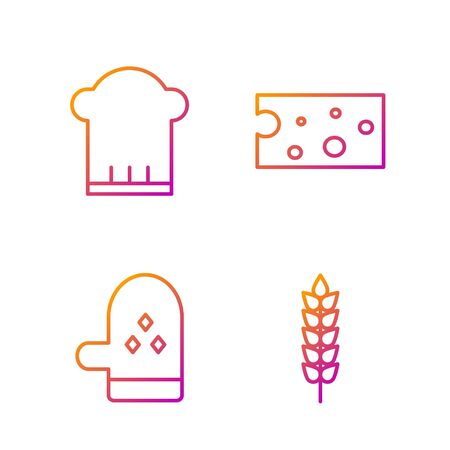 Set line Cereals with rice, wheat, corn, oats, rye, Oven glove , Chef hat and Cheese . Gradient color icons. Vector Illustration
