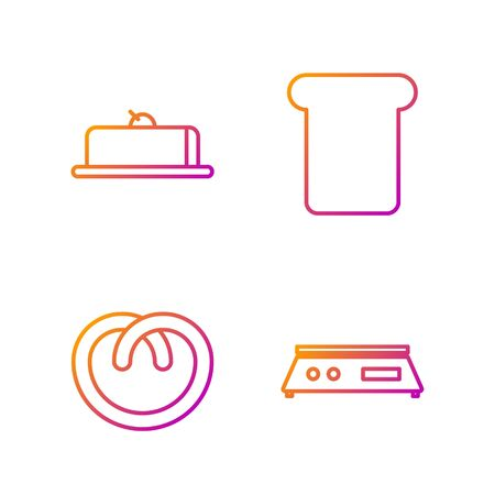 Set line Electronic scales , Pretzel , Strawberry cheesecake slice and Bread toast. Gradient color icons. Vector