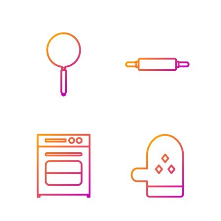 Set line Oven glove , Oven , Frying pan and Rolling pin . Gradient color icons. Vector