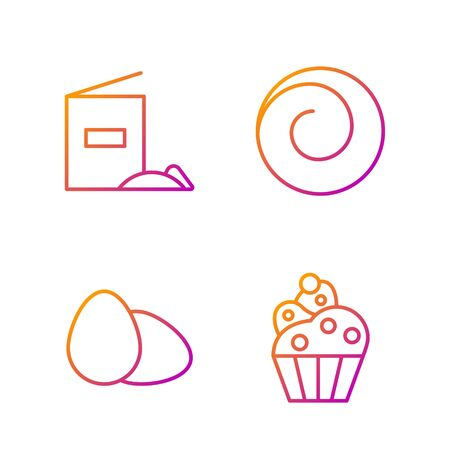 Set line Cupcake , Chicken egg , Flour pack and Roll bun with cinnamon . Gradient color icons. Vector