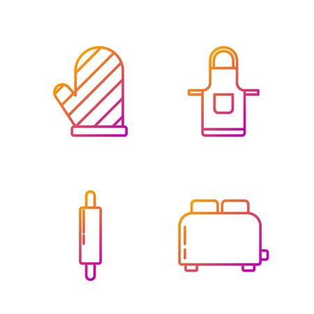 Set line Toaster with toasts , Rolling pin , Oven glove and Kitchen apron . Gradient color icons. Vector