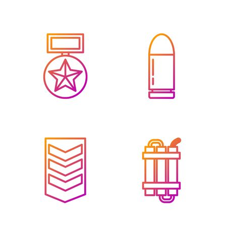Set line Detonate dynamite bomb stick, Military rank , Military reward medal and Bullet . Gradient color icons. Vector