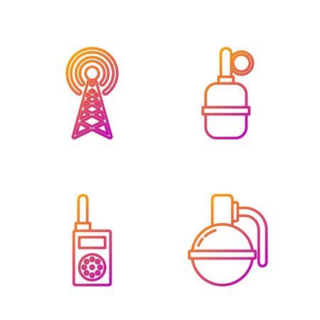 Set line Hand grenade , Walkie talkie , Radar and Hand grenade . Gradient color icons. Vector