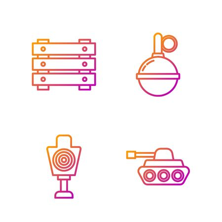 Set line Military tank , Human target sport for shooting , Military ammunition box and Hand grenade . Gradient color icons. Vector