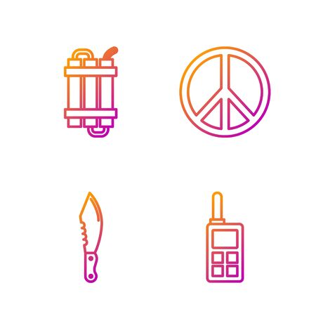 Set line Walkie talkie , Military knife , Detonate dynamite bomb stick and Peace . Gradient color icons. Vector