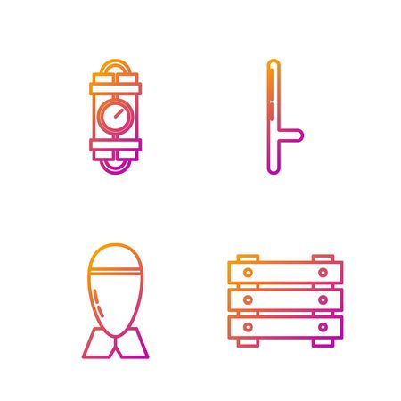 Set line Military ammunition box, Aviation bomb , Detonate dynamite bomb stick and timer clock and Police rubber baton . Gradient color icons. Vector