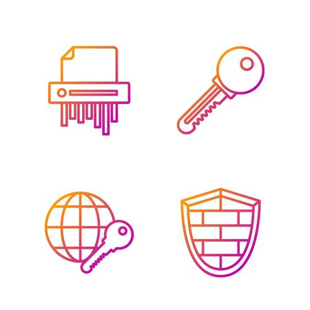 Set line Shield with cyber security brick wall , Globe key , Paper shredder confidential and Key . Gradient color icons. Vector