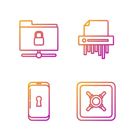 Set line Safe , Smartphone with lock , FTP folder and lock and Paper shredder confidential. Gradient color icons. Vector