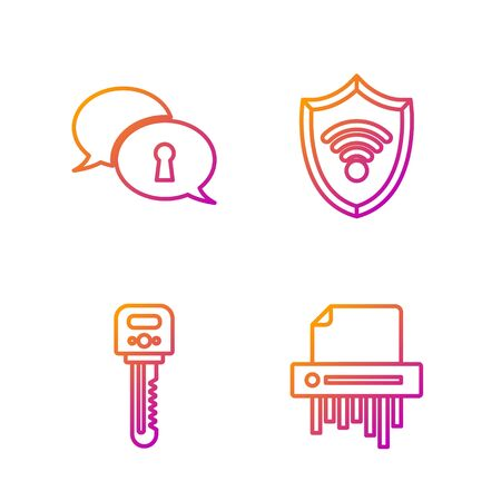 Set line Paper shredder confidential, Key , Protection of personal data and Shield with WiFi wireless internet network. Gradient color icons. Vector