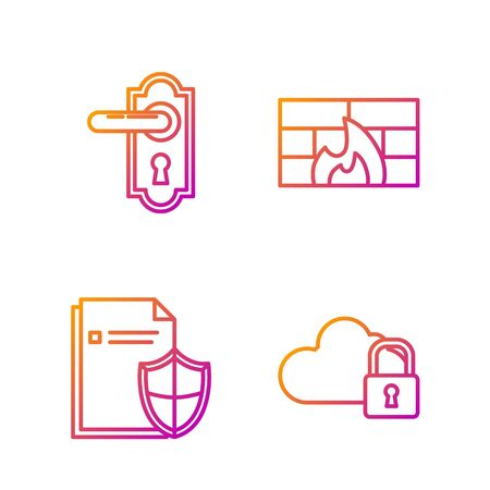 Set line Cloud computing lock , Document protection concept , Door handle and Firewall, security wall . Gradient color icons. Vector