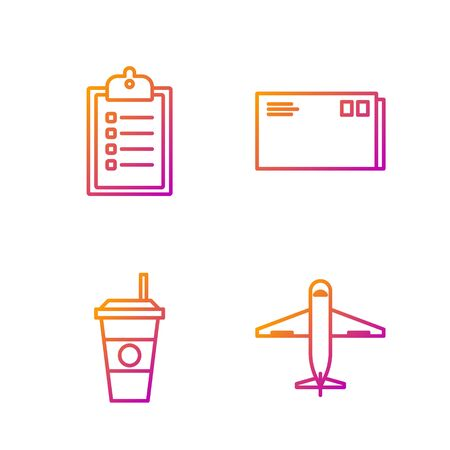 Set line Plane , Coffee cup , Verification of delivery list clipboard and Envelope . Gradient color icons. Vector