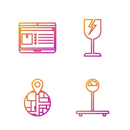 Set line Scale , Placeholder on map paper in perspective , Laptop with app delivery tracking and Fragile broken glass symbol. Gradient color icons. Vector  イラスト・ベクター素材
