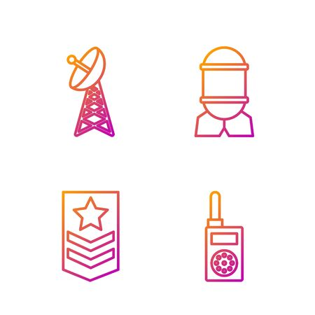 Set line Walkie talkie , Chevron , Radar and Aviation bomb . Gradient color icons. Vector