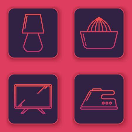 Set line Table lamp , Smart Tv , Citrus fruit juicer and Electric iron . Blue square button. Vector