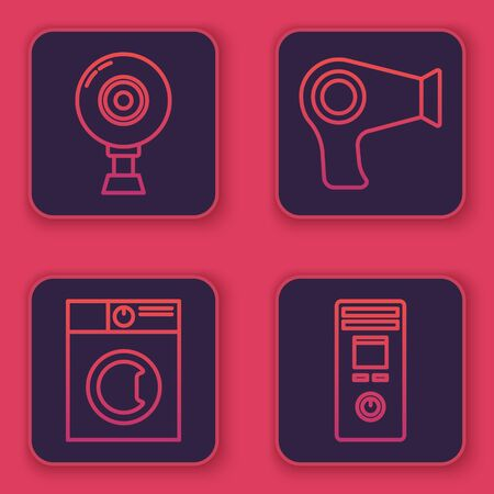 Set line Web camera , Washer , Hair dryer and Remote control. Blue square button. Vector
