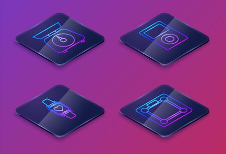 Set Isometric line Scales , Smart watch showing heart beat rate , Music player and Bathroom scales . Blue square button. Vector