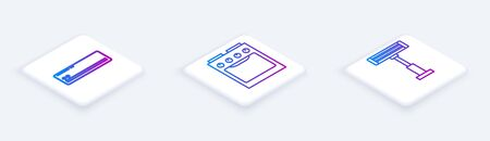 Set Isometric line Air conditioner , Oven and Electric heater . White square button. Vector Illustration