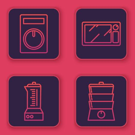 Set line Remote control, Blender , Microwave oven and Double boiler . Blue square button. Vector