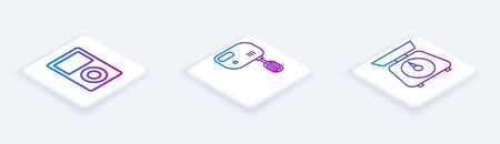 Set Isometric line Music player , Electric mixer and Scales . White square button. Vector