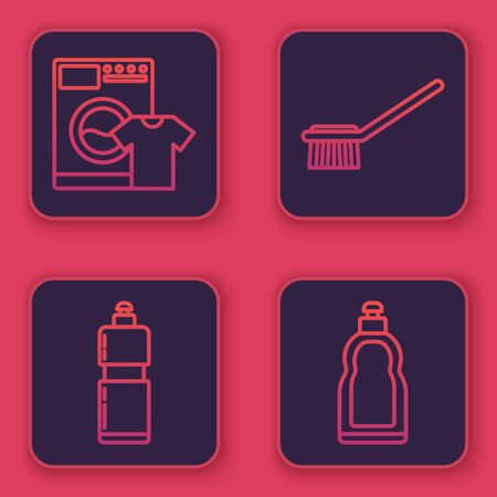 Set line Washer and t-shirt , Plastic bottles for liquid dishwashing liquid, Toilet brush and Plastic bottles for liquid dishwashing liquid. Blue square button. Vector Illustration