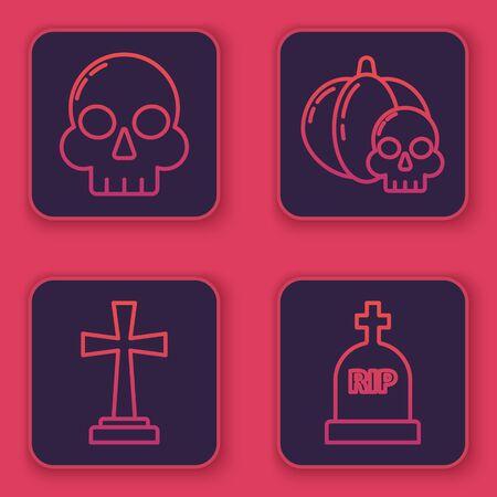 Set line Skull , Tombstone with cross , Pumpkin and skull and Tombstone with RIP. Blue square button. Vector Stock Illustratie