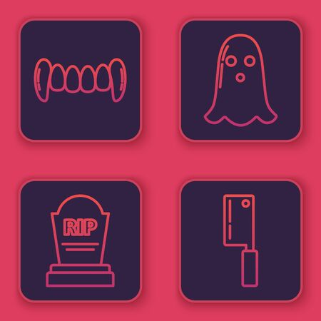 Set line Vampire teeth , Tombstone with RIP, Ghost and Meat chopper . Blue square button. Vector