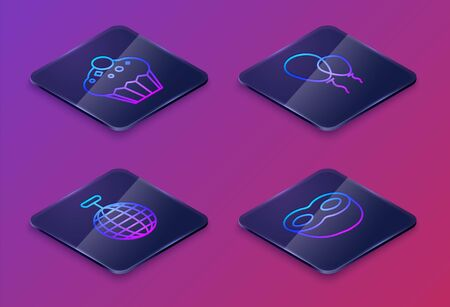 Set Isometric line Muffin , Disco ball , Balloons with ribbon and Festive mask . Blue square button. Vector Ilustração